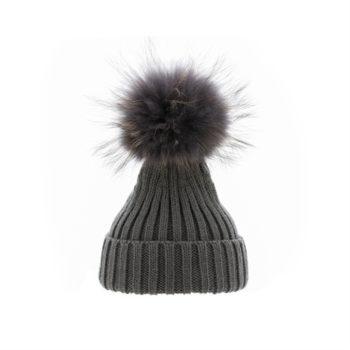 Mørkegrå Hue med pelskvast