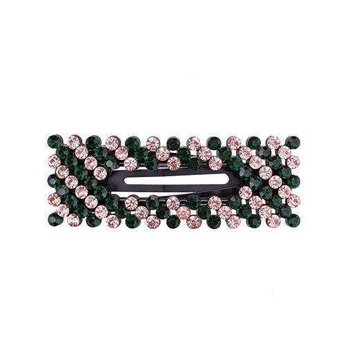 Zoey Hårspænde i stribet grøn & rosa