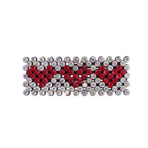 Zoey Hårspænde med klare krystalsten og røde hjerter