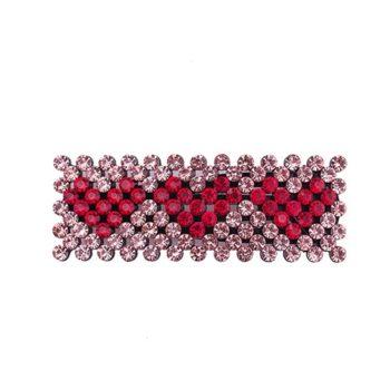 Zoey Hårspænde i rosa med røde hjerter