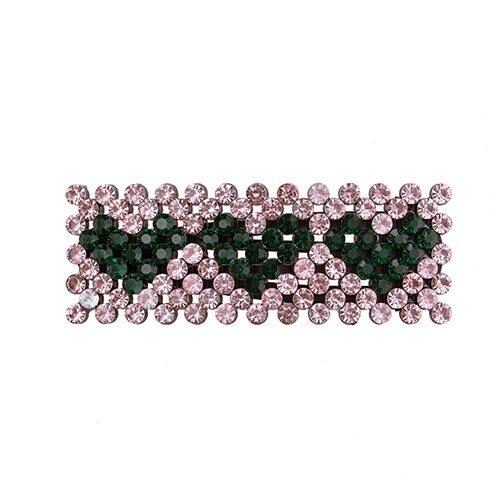 Zoey Hårspænde med rosa og grønne krystalsten