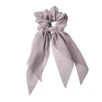 tørklæde scrunchie i støvet lilla med glitter detaljer