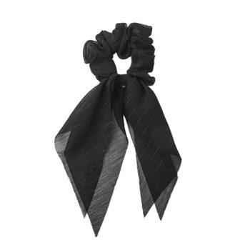 tørklæde scrunchie i sort med glitter detaljer