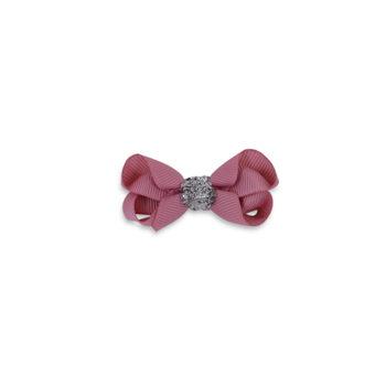 6 cm sløjfe dusty rosa m. sølv glitter