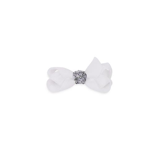 6 cm sløjfe hvid m. sølv glitter