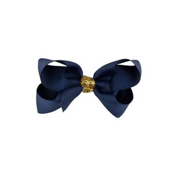 8 cm sløjfe i navy m. guld glitter