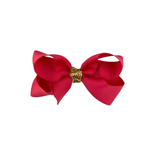 8 cm sløjfe i rød m. guld glimmer