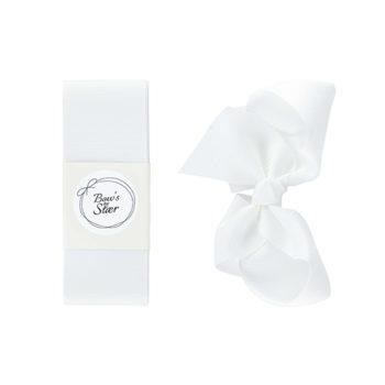 Dåbsbånd med sløjfe i hvid