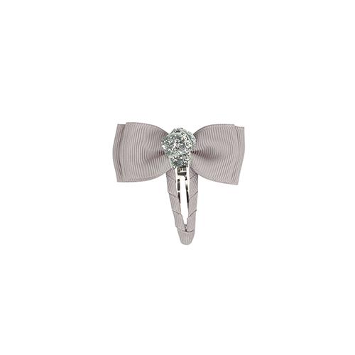 Hårspænde med sløjfe grå med sølv glitterknude