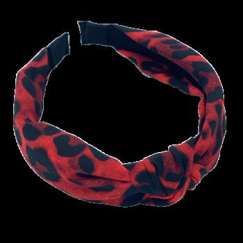 Hårbøjle i rødt leo print
