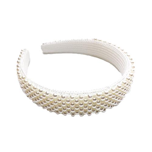 Hårbøjle med hvide perler