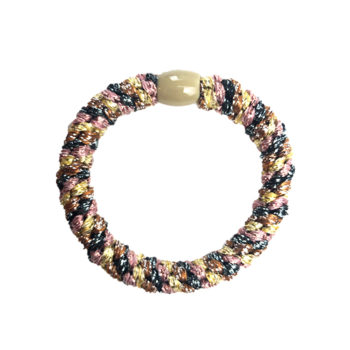 Braided Hairtie - Multi Brown Rainbow