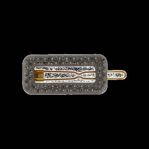 firkantet spænde i grå med små sten
