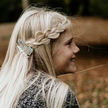 Olga hårspænde i blå med guld