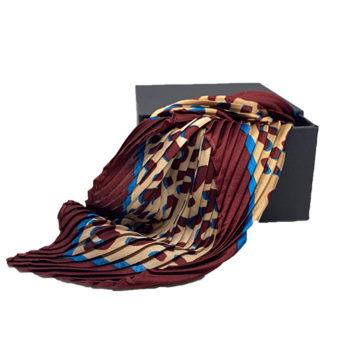 Plisseret silkeørklæde i leopard, bordeaux og blå