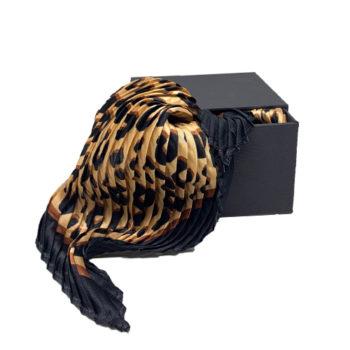 Plisseret silketørklæde leopard print