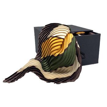 Plisse silketørklæde beige, grøn og gul