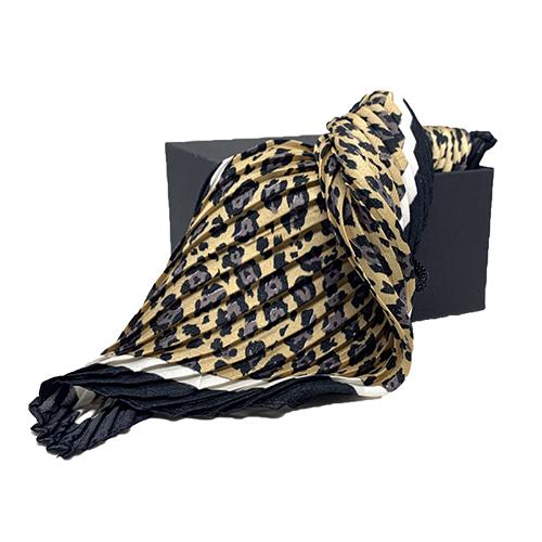 Plisseret silketørklæde leopard og grå
