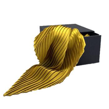 Plisseret silketørklæde karrygul