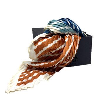 Plisseret silketørklæde bronze og blå