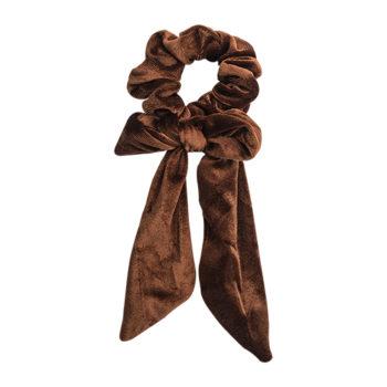 scrunchie med lange haler i gylden brun velour