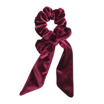 scrunchie med lange ahler i vinrød velour