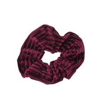 Velvet stripe bordeaux scrunchie