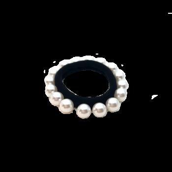 Solvej hårelastik med hvide perler