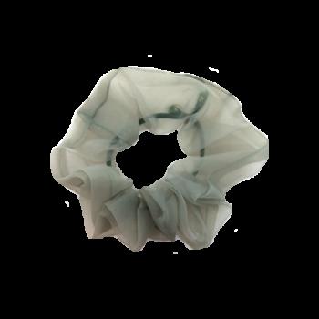 Mindre Scrunchie i støvet grøn chiffon