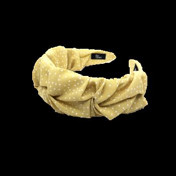 Bella hårbøjle i gul med hvide prikker