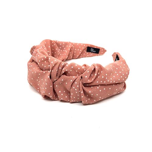 Bella hårbøjle i rosa med hvide prikker