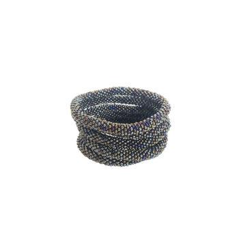 Nepal armbånd i mørkegrå og blå perler