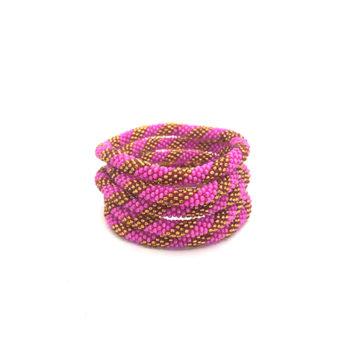 Nepal Armbånd i guld og pink