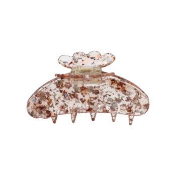 Produkt billede af Asta hårklemme i brun acetat med guld og sølv konfetti glimmer