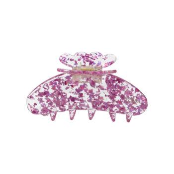 produktbillede af Asta hårklemme i klart acetat med lyserød glimmer konfetti