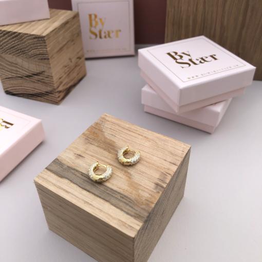 Produktbillede af Bell hoops øreringe i guld med Zirconia sten