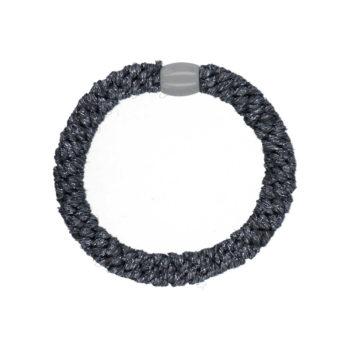 produktbillede af flettet glimmer hårelastik i mørkegrå