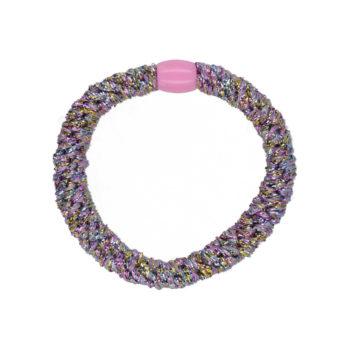 produktbillede af gitter hårelastik i lilla regnbue mix