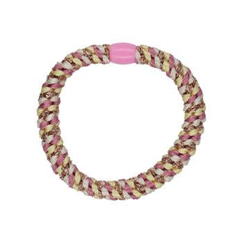 Produktbillede af flettet hårelastik i lyserød og hvid med plastik perle i pink