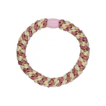 Produktbillede af flettet hårelastik med perle i pastel og rosa glitter