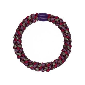 Produktbillede af flettet hårelastik med perle i glimmer lilla og bordeaux