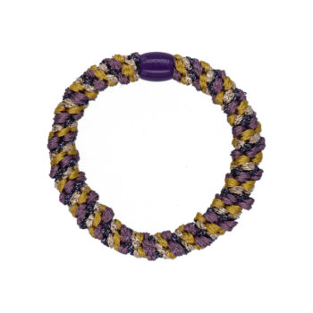 Produktbillede af flettet hårelastik med perle i lilla, og sennepsgul