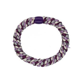 Produktbillede af flettet hårelastik med perle i lilla og gråt