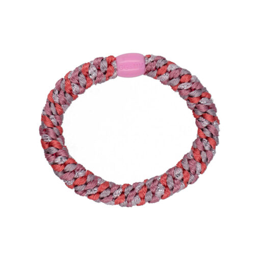 Produktbillede af flettet hårelastik med perle i rosa og lilla