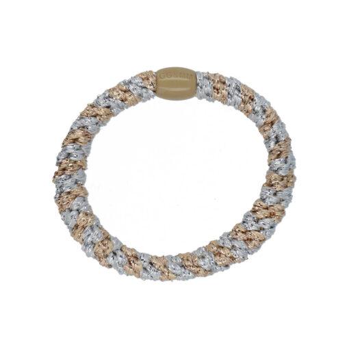produktbillede af flettet hårelastik med perle i sølv og beige