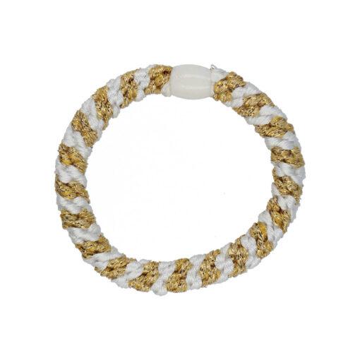 Produktbillede af flettet hårelastik med perle i hvid og guld