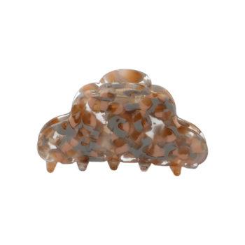 Produkt billede af CLARA hårklemme i gennemsigtig acetat med et smukt mix af beige og rosa mønster