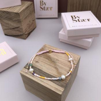 Produktbillede af Helle armbånd med perler i rosa mix
