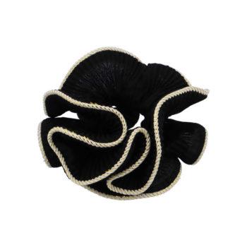 Lilje Scrunchie i sort med guldkant