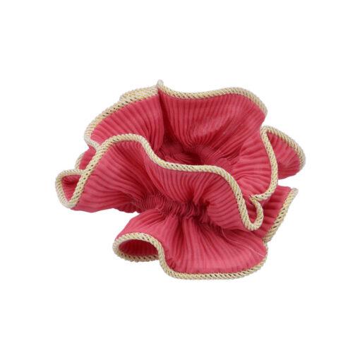 produktbillede af lelje scrunchie i berry med guldkant